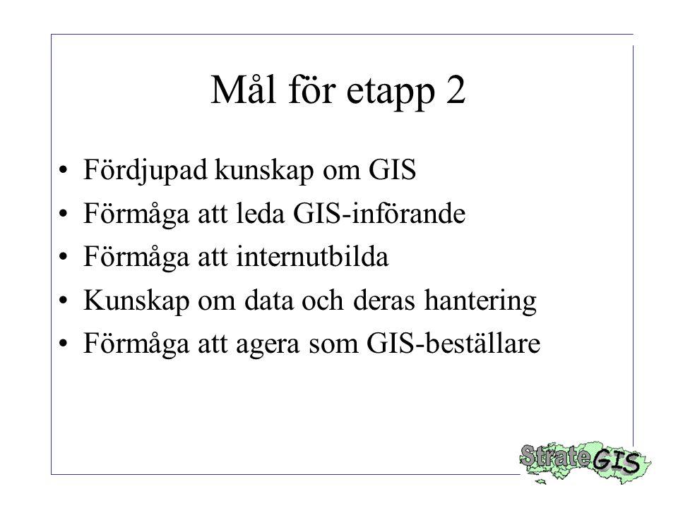 Mål för etapp 2 Fördjupad kunskap om GIS Förmåga att leda GIS-införande Förmåga att internutbilda Kunskap om data och deras hantering Förmåga att agera som GIS-beställare