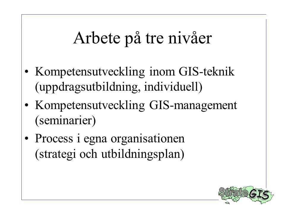 Arbete på tre nivåer Kompetensutveckling inom GIS-teknik (uppdragsutbildning, individuell) Kompetensutveckling GIS-management (seminarier) Process i egna organisationen (strategi och utbildningsplan)