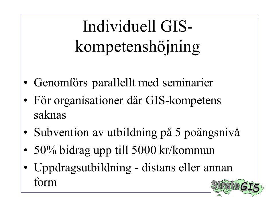 Individuell GIS- kompetenshöjning Genomförs parallellt med seminarier För organisationer där GIS-kompetens saknas Subvention av utbildning på 5 poängsnivå 50% bidrag upp till 5000 kr/kommun Uppdragsutbildning - distans eller annan form