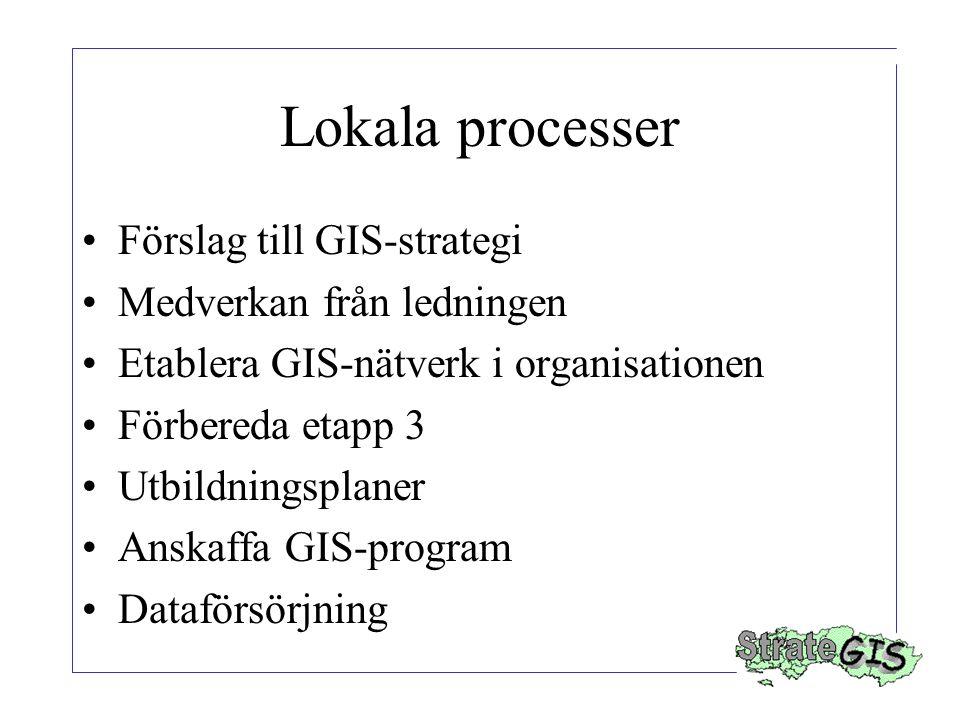 Lokala processer Förslag till GIS-strategi Medverkan från ledningen Etablera GIS-nätverk i organisationen Förbereda etapp 3 Utbildningsplaner Anskaffa GIS-program Dataförsörjning