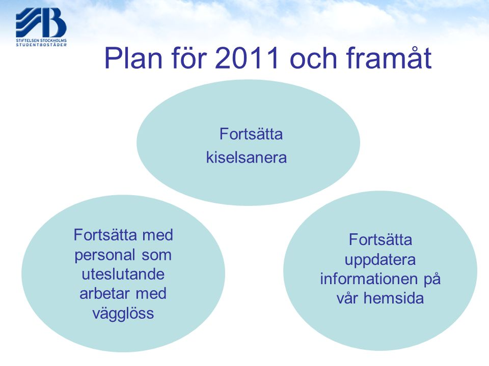Plan för 2011 och framåt Fortsätta med personal som uteslutande arbetar med vägglöss Fortsätta kiselsanera Fortsätta uppdatera informationen på vår he
