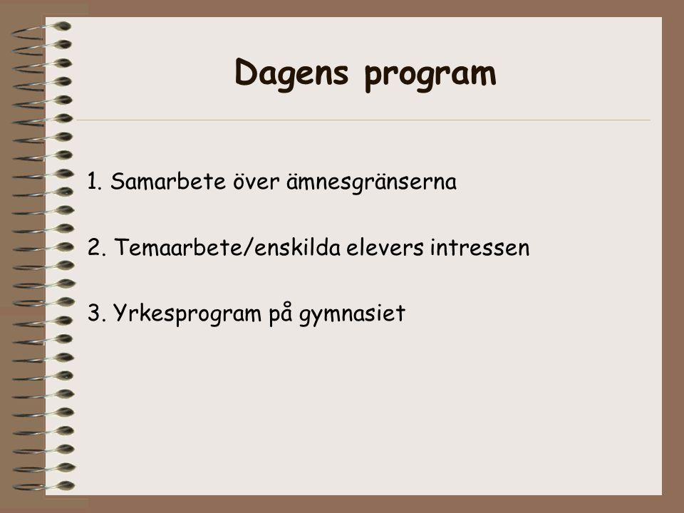 Dagens program 1. Samarbete över ämnesgränserna 2.