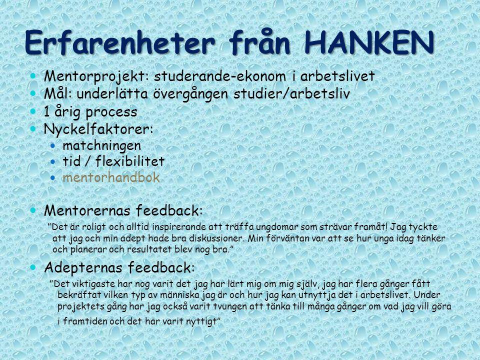Erfarenheter från HANKEN Mentorprojekt: studerande-ekonom i arbetslivet Mål: underlätta övergången studier/arbetsliv 1 årig process Nyckelfaktorer: ma