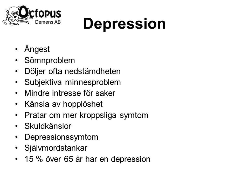 Depression Ångest Sömnproblem Döljer ofta nedstämdheten Subjektiva minnesproblem Mindre intresse för saker Känsla av hopplöshet Pratar om mer kroppsliga symtom Skuldkänslor Depressionssymtom Självmordstankar 15 % över 65 år har en depression