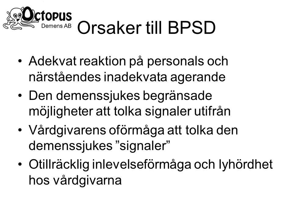 Orsaker till BPSD Adekvat reaktion på personals och närståendes inadekvata agerande Den demenssjukes begränsade möjligheter att tolka signaler utifrån Vårdgivarens oförmåga att tolka den demenssjukes signaler Otillräcklig inlevelseförmåga och lyhördhet hos vårdgivarna