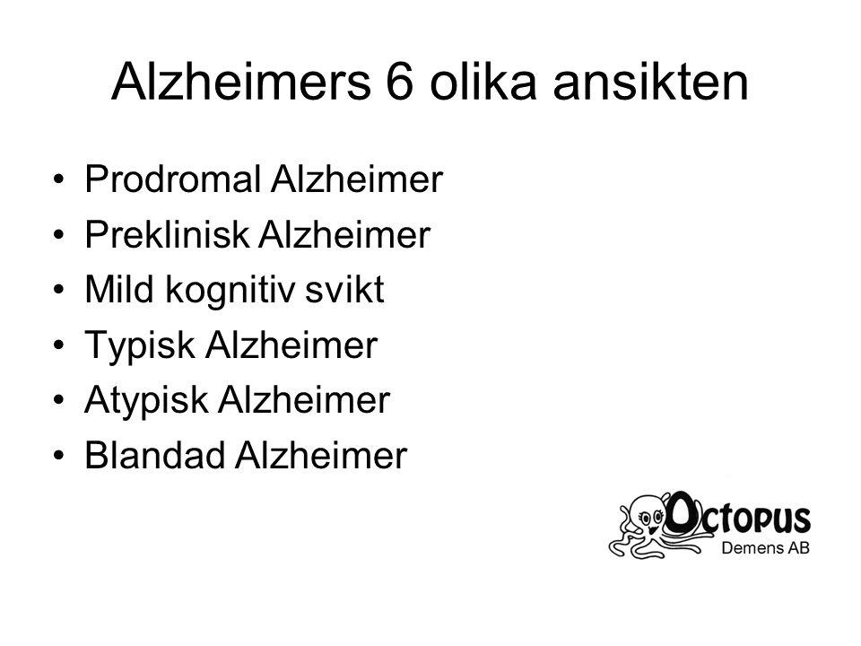 Alzheimers 6 olika ansikten Prodromal Alzheimer Preklinisk Alzheimer Mild kognitiv svikt Typisk Alzheimer Atypisk Alzheimer Blandad Alzheimer