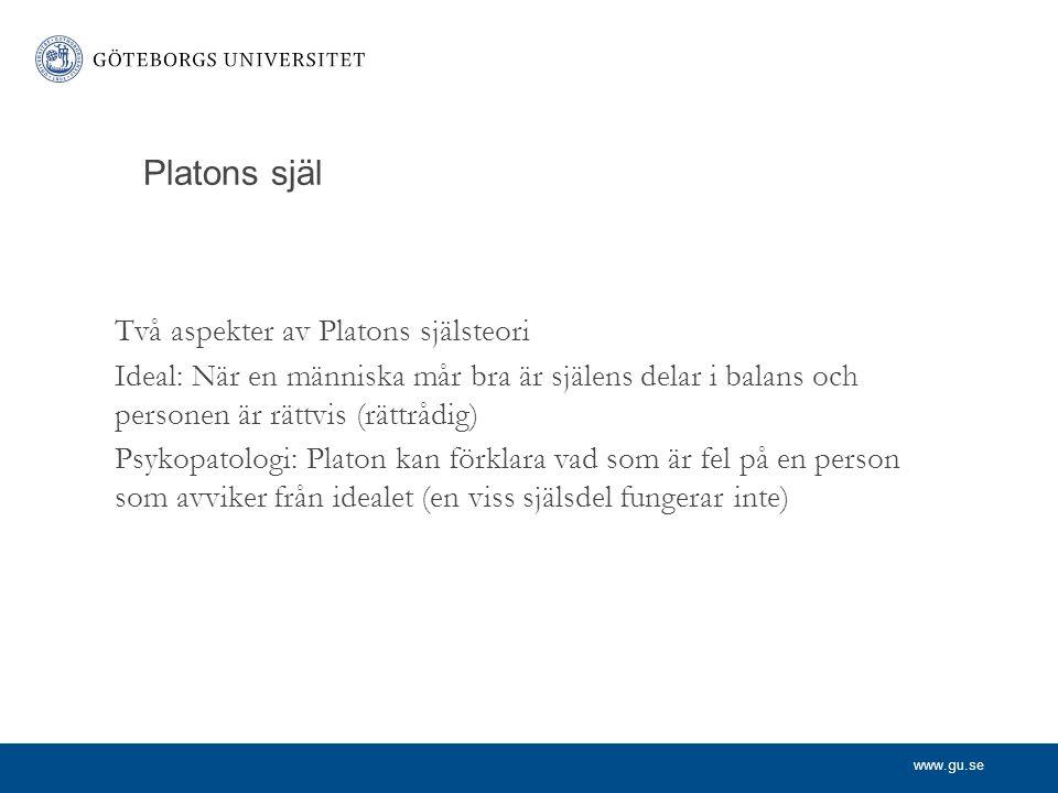 www.gu.se Platons själ Två aspekter av Platons själsteori Ideal: När en människa mår bra är själens delar i balans och personen är rättvis (rättrådig)