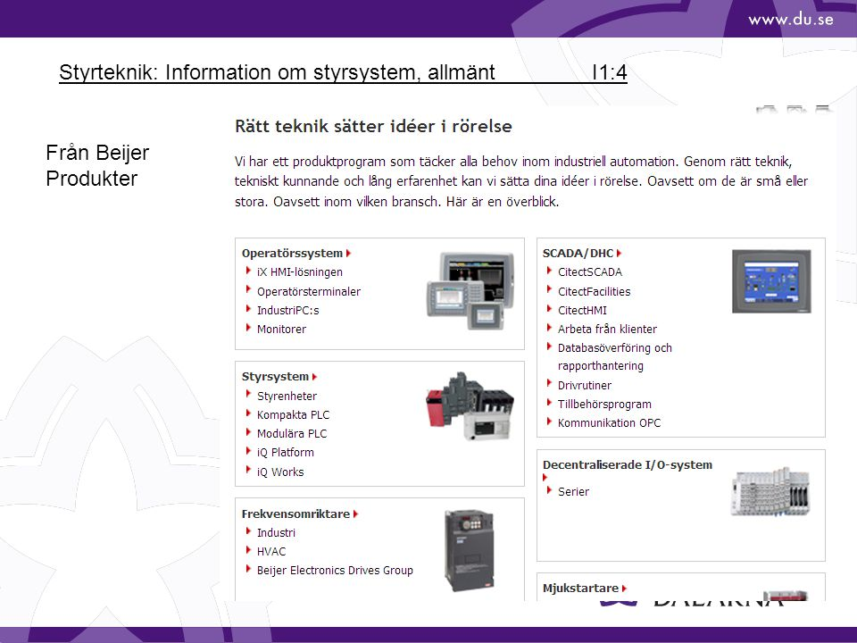 Styrteknik: Information om styrsystem, allmänt I1:4 Från Beijer Produkter