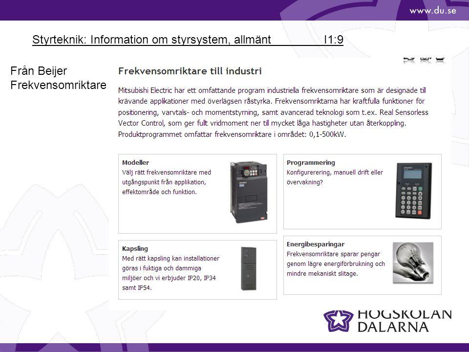 Styrteknik: Information om styrsystem, allmänt I1:9 Från Beijer Frekvensomriktare