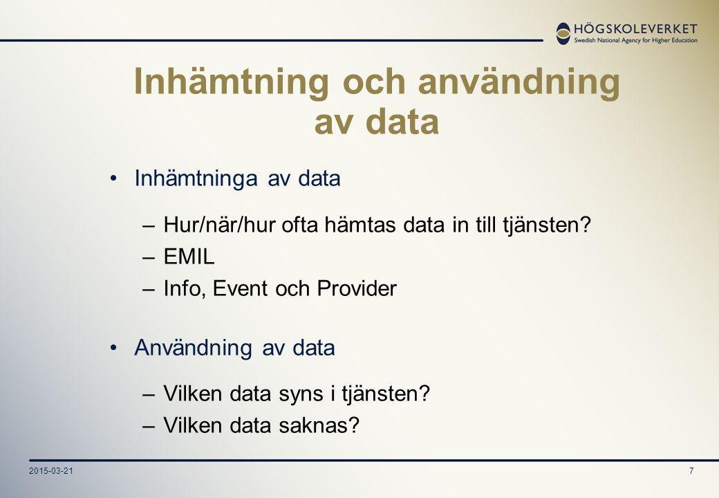 2015-03-217 Inhämtning och användning av data Inhämtninga av data –Hur/när/hur ofta hämtas data in till tjänsten.