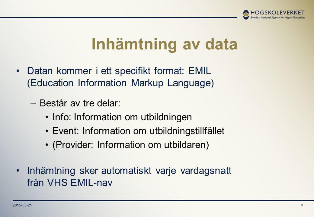 9 Inhämtning av data Datan kommer i ett specifikt format: EMIL (Education Information Markup Language) –Består av tre delar: Info: Information om utbildningen Event: Information om utbildningstillfället (Provider: Information om utbildaren) Inhämtning sker automatiskt varje vardagsnatt från VHS EMIL-nav