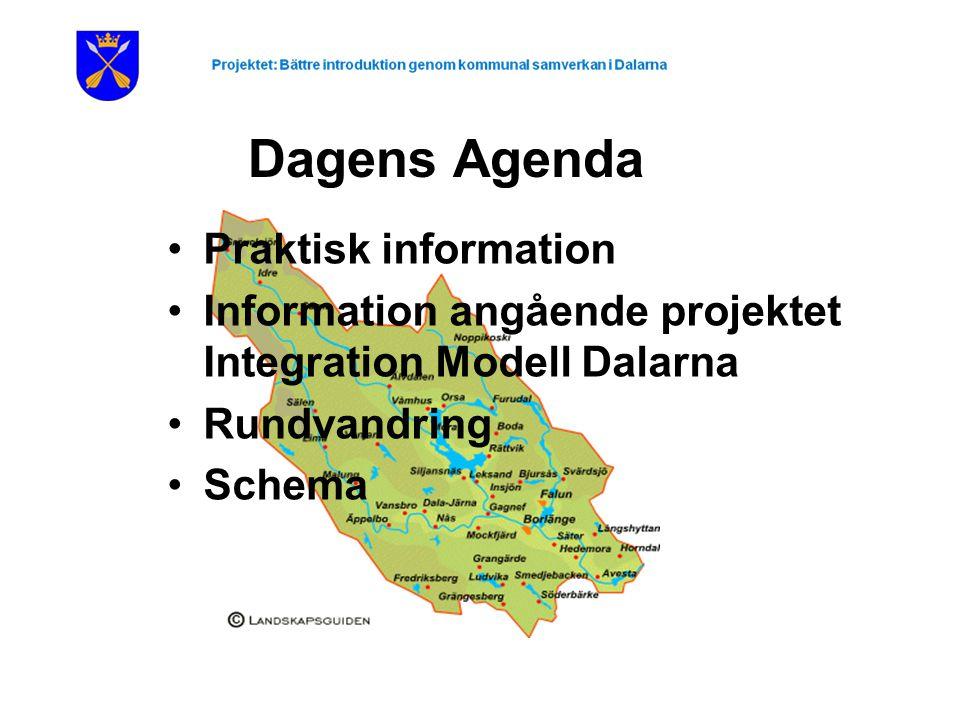 Dagens Agenda Praktisk information Information angående projektet Integration Modell Dalarna Rundvandring Schema
