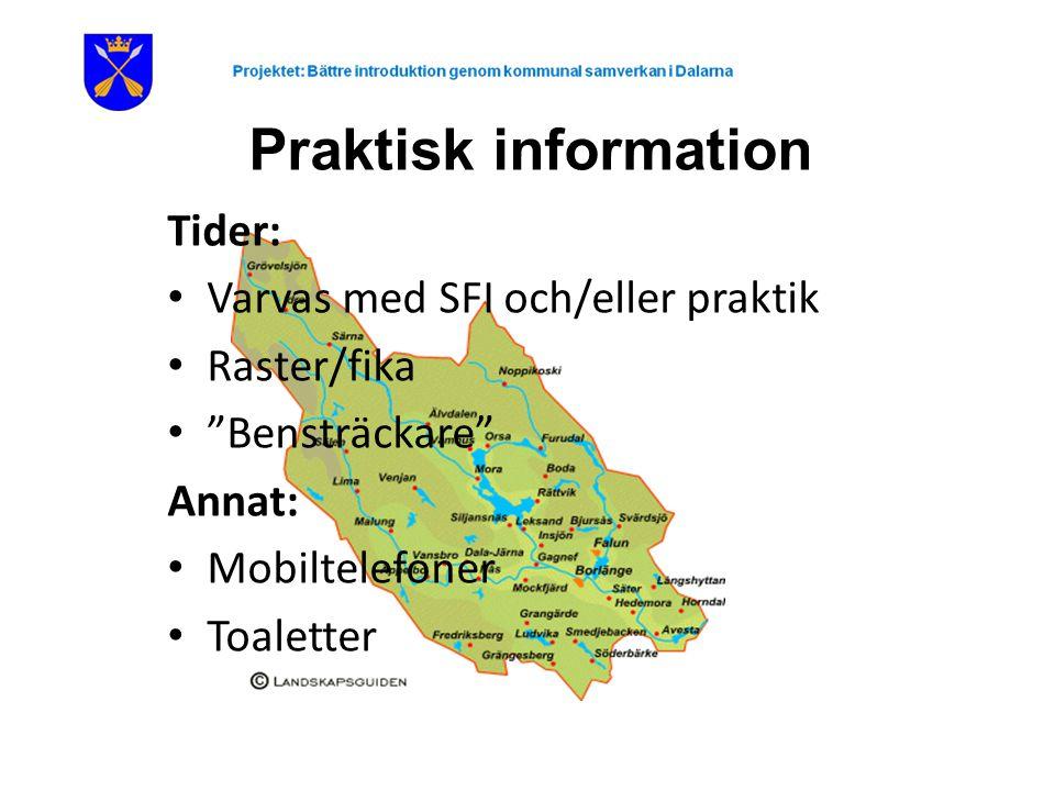 Praktisk information Tider: Varvas med SFI och/eller praktik Raster/fika Bensträckare Annat: Mobiltelefoner Toaletter
