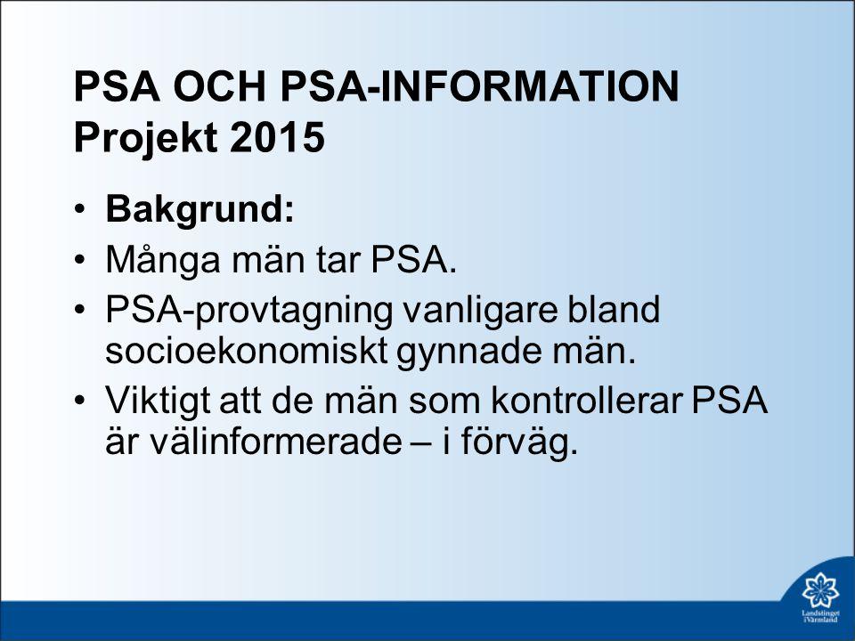 PSA OCH PSA-INFORMATION Projekt 2015 Bakgrund: Många män tar PSA.