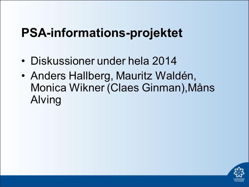 PSA-informations-projektet Diskussioner under hela 2014 Anders Hallberg, Mauritz Waldén, Monica Wikner (Claes Ginman),Måns Alving