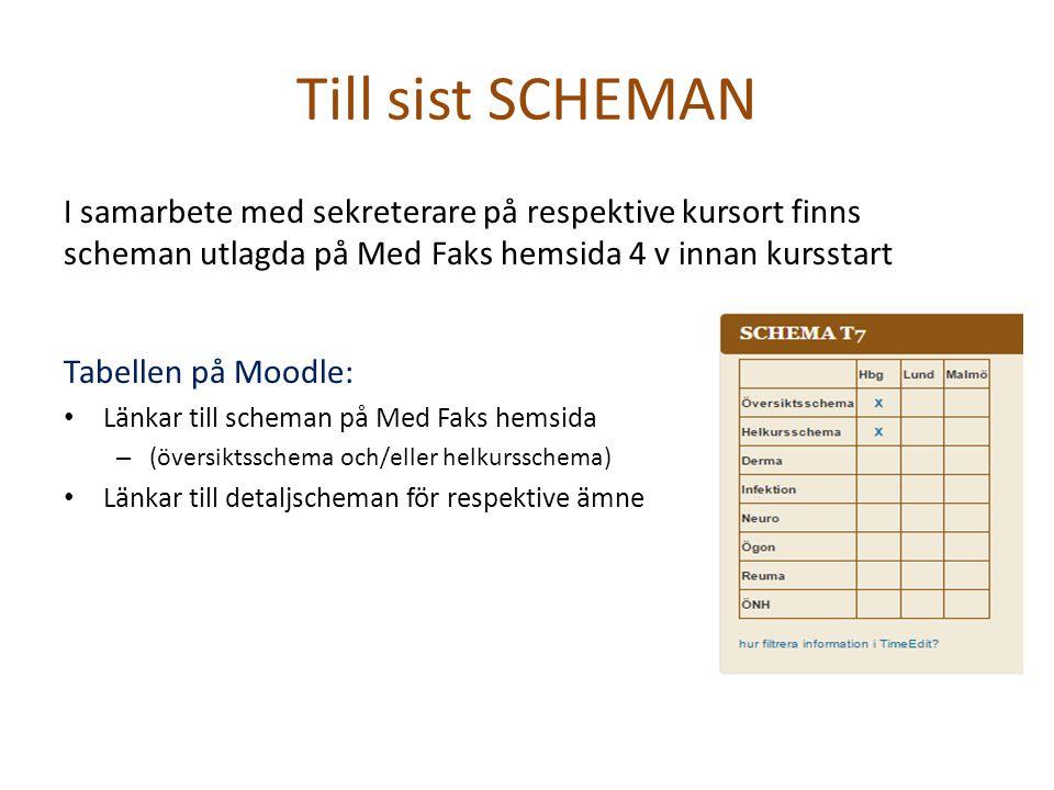 Till sist SCHEMAN I samarbete med sekreterare på respektive kursort finns scheman utlagda på Med Faks hemsida 4 v innan kursstart Tabellen på Moodle: