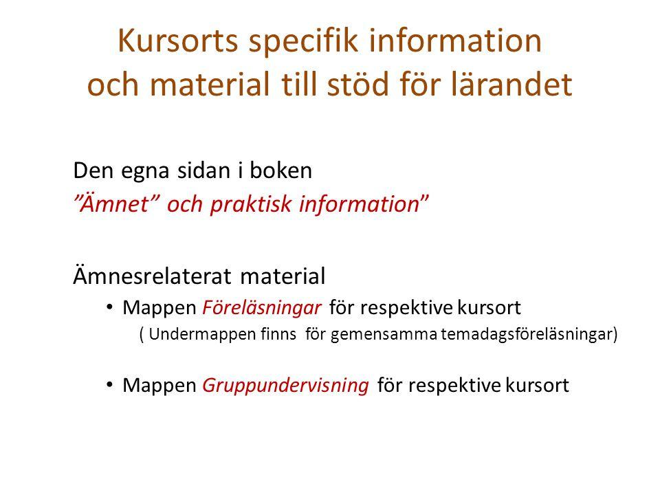 """Kursorts specifik information och material till stöd för lärandet Den egna sidan i boken """"Ämnet"""" och praktisk information"""" Ämnesrelaterat material Map"""