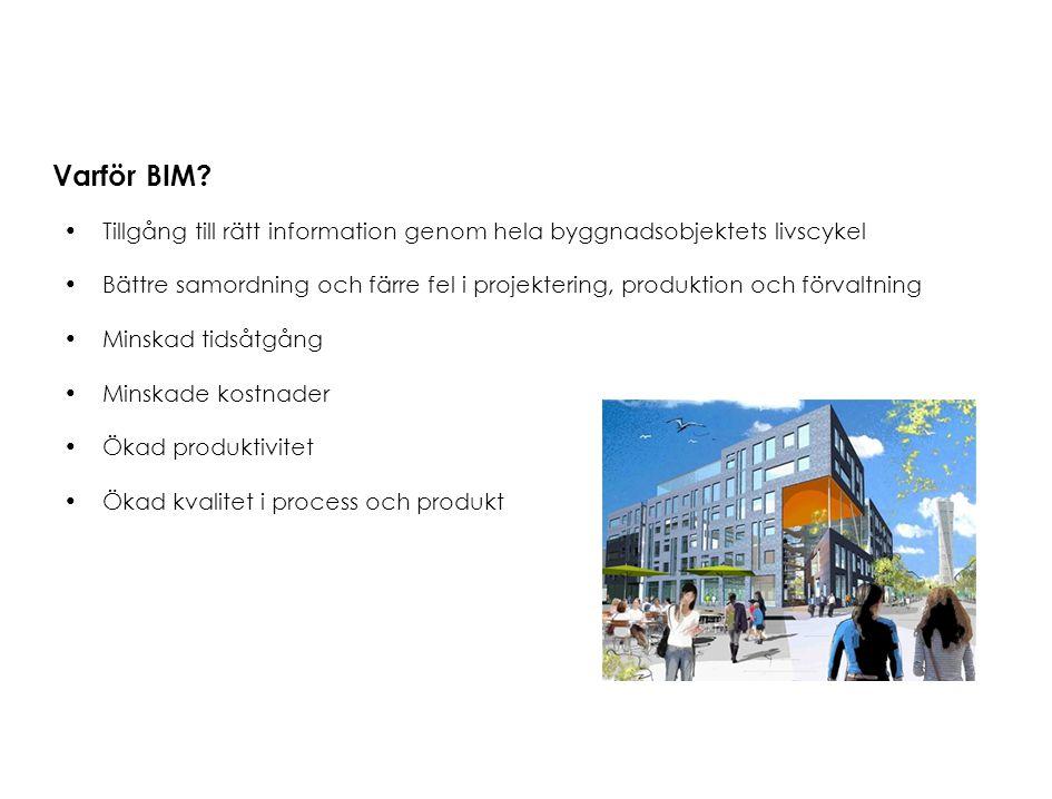 Varför BIM? Tillgång till rätt information genom hela byggnadsobjektets livscykel Bättre samordning och färre fel i projektering, produktion och förva