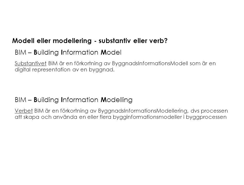 Modell eller modellering - substantiv eller verb? BIM – B uilding I nformation M odel Substantivet BIM är en förkortning av ByggnadsInformationsModell