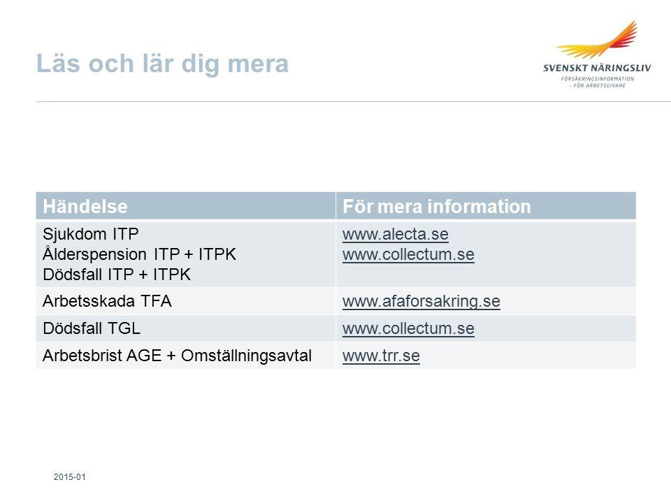Läs och lär dig mera HändelseFör mera information Sjukdom ITP Ålderspension ITP + ITPK Dödsfall ITP + ITPK www.alecta.se www.collectum.se Arbetsskada TFAwww.afaforsakring.se Dödsfall TGLwww.collectum.se Arbetsbrist AGE + Omställningsavtalwww.trr.se 2015-01