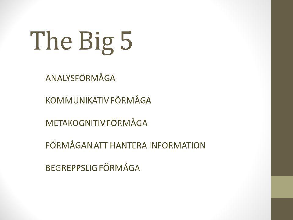 The Big 5 ANALYSFÖRMÅGA KOMMUNIKATIV FÖRMÅGA METAKOGNITIV FÖRMÅGA FÖRMÅGAN ATT HANTERA INFORMATION BEGREPPSLIG FÖRMÅGA