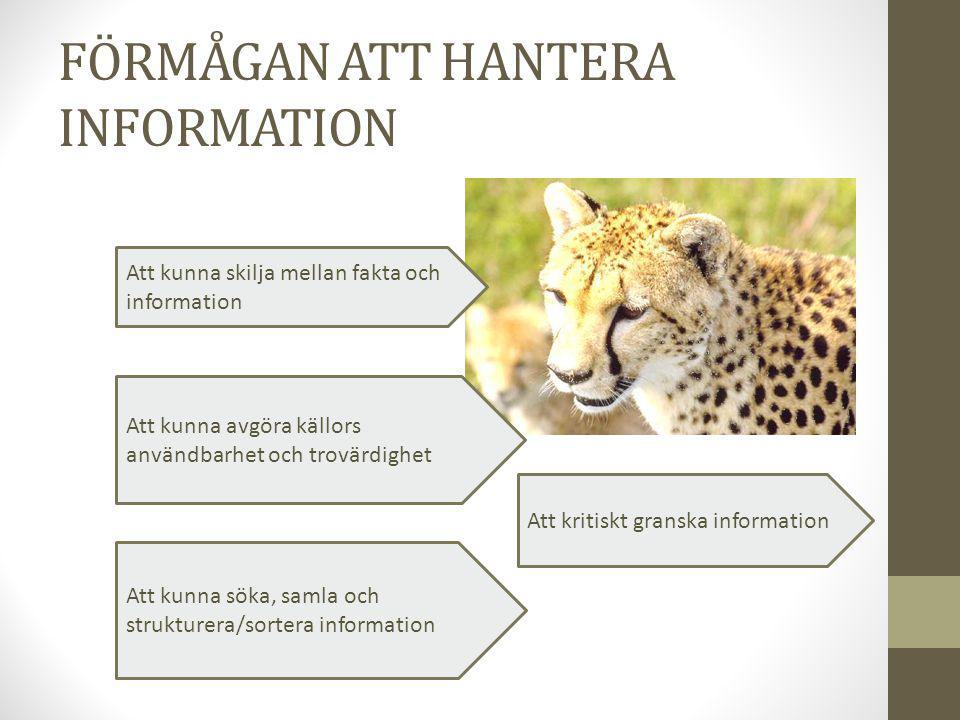 FÖRMÅGAN ATT HANTERA INFORMATION Att kunna skilja mellan fakta och information Att kunna söka, samla och strukturera/sortera information Att kunna avg