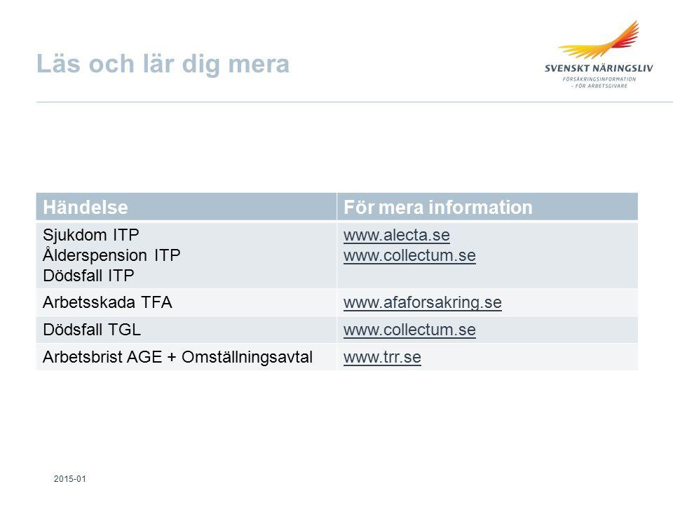 Läs och lär dig mera HändelseFör mera information Sjukdom ITP Ålderspension ITP Dödsfall ITP www.alecta.se www.collectum.se Arbetsskada TFAwww.afaforsakring.se Dödsfall TGLwww.collectum.se Arbetsbrist AGE + Omställningsavtalwww.trr.se 2015-01