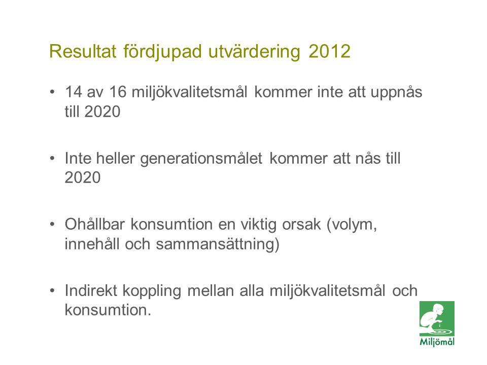 Vill du veta mer? FOTO: LARS P:SON/JOHNÉR Resultat fördjupad utvärdering 2012 14 av 16 miljökvalitetsmål kommer inte att uppnås till 2020 Inte heller