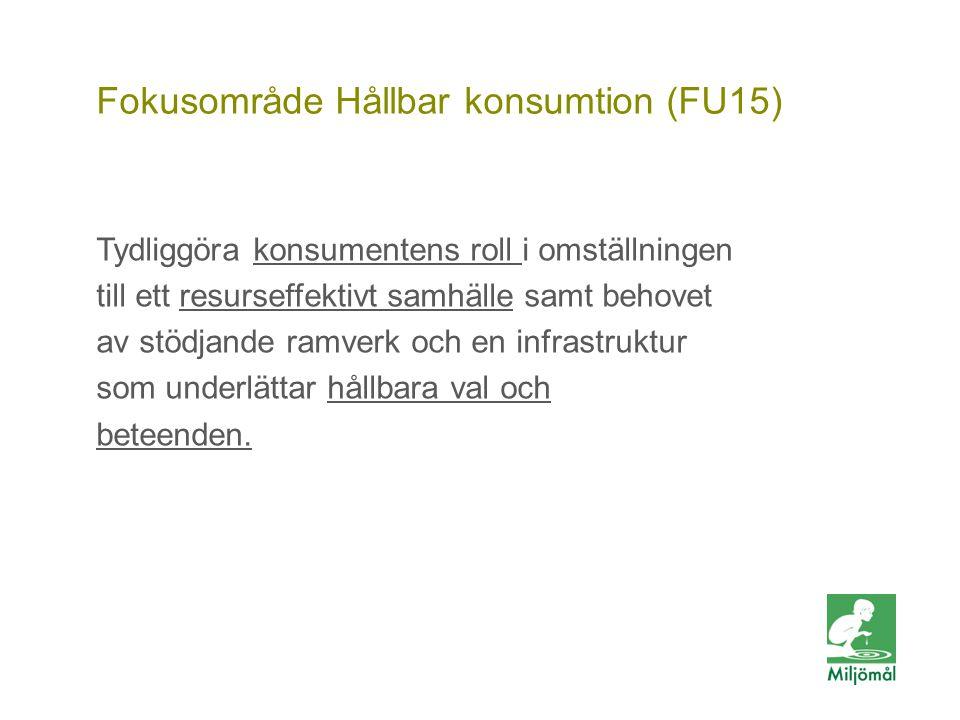 Vill du veta mer? FOTO: LARS P:SON/JOHNÉR Fokusområde Hållbar konsumtion (FU15) Tydliggöra konsumentens roll i omställningen till ett resurseffektivt