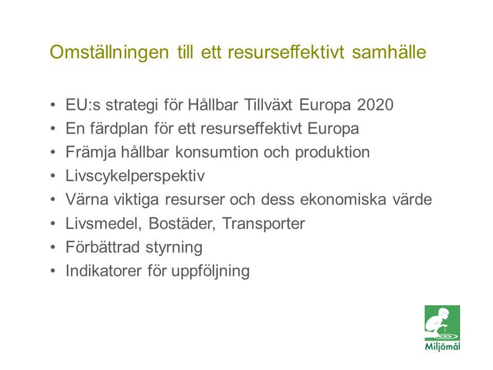 Vill du veta mer? FOTO: LARS P:SON/JOHNÉR Omställningen till ett resurseffektivt samhälle EU:s strategi för Hållbar Tillväxt Europa 2020 En färdplan f