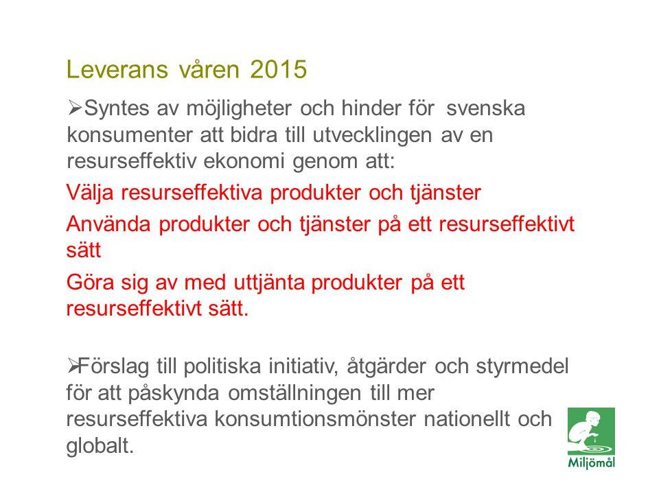 Vill du veta mer? FOTO: LARS P:SON/JOHNÉR Leverans våren 2015  Syntes av möjligheter och hinder för svenska konsumenter att bidra till utvecklingen a
