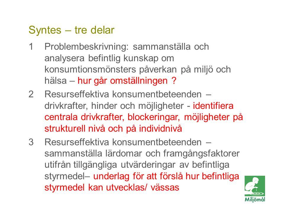 Vill du veta mer? FOTO: LARS P:SON/JOHNÉR Syntes – tre delar 1Problembeskrivning: sammanställa och analysera befintlig kunskap om konsumtionsmönsters