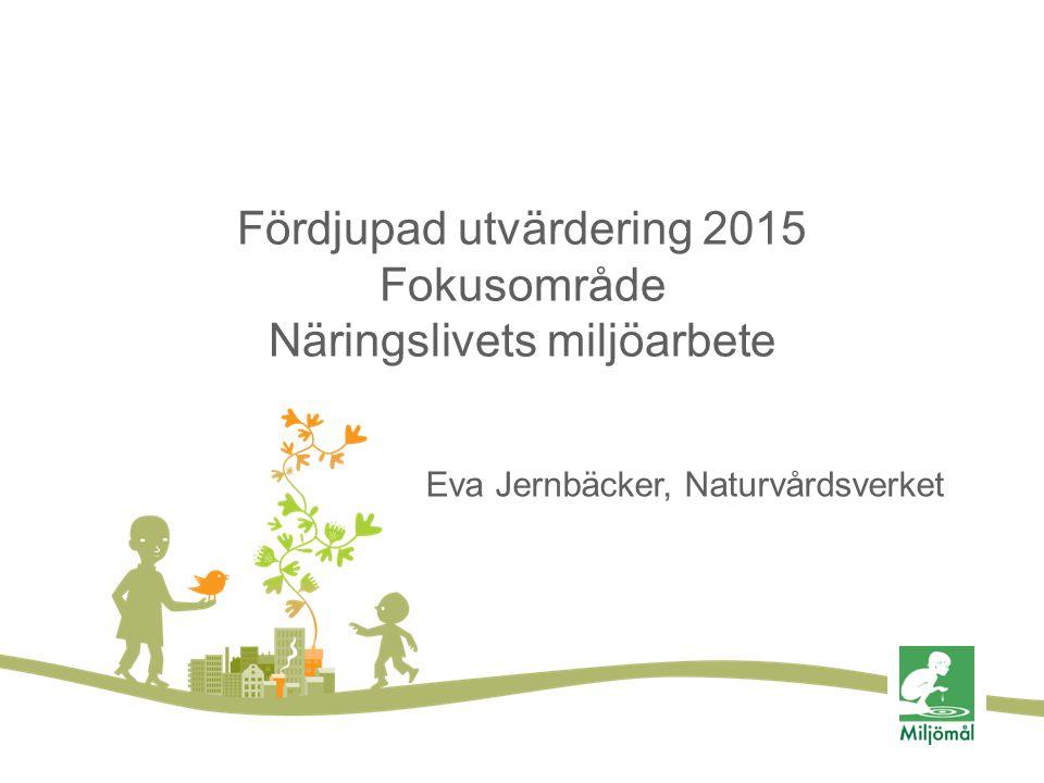 Fördjupad utvärdering 2015 Fokusområde Näringslivets miljöarbete Eva Jernbäcker, Naturvårdsverket