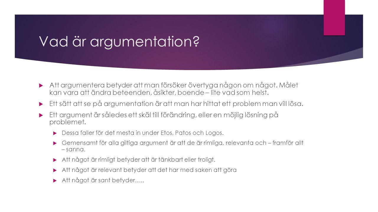Argumentation: Tes  När man argumenterar under mer ordnade former – i skrift eller tal, har man alltid ett direkt syfte med sin argumentation.