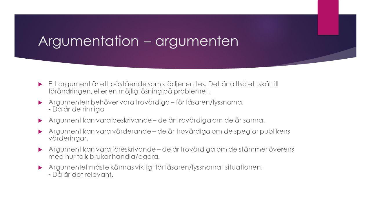 Argumentation – argument, forts. Två typer av argument.