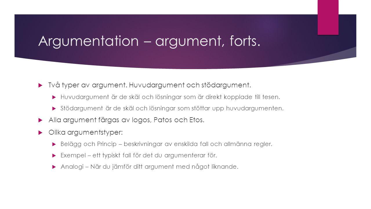 Argumentation: Motargument  Motargument är de skäl och påstående som går emot ditt ställningstagande, eller som talar mot dina föreslagna lösningar  Dessa behöver du förutspå och bemöta.