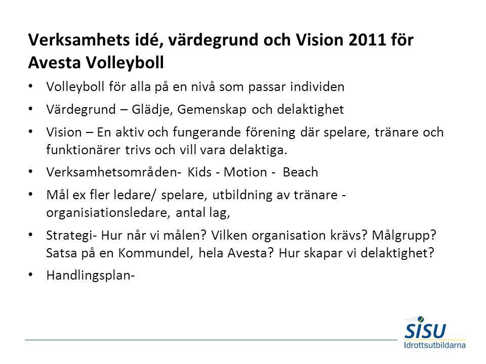 Verksamhets idé, värdegrund och Vision 2011 för Avesta Volleyboll Volleyboll för alla på en nivå som passar individen Värdegrund – Glädje, Gemenskap och delaktighet Vision – En aktiv och fungerande förening där spelare, tränare och funktionärer trivs och vill vara delaktiga.