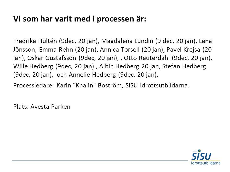 Vi som har varit med i processen är: Fredrika Hultén (9dec, 20 jan), Magdalena Lundin (9 dec, 20 jan), Lena Jönsson, Emma Rehn (20 jan), Annica Torsell (20 jan), Pavel Krejsa (20 jan), Oskar Gustafsson (9dec, 20 jan),, Otto Reuterdahl (9dec, 20 jan), Wille Hedberg (9dec, 20 jan), Albin Hedberg 20 jan, Stefan Hedberg (9dec, 20 jan), och Annelie Hedberg (9dec, 20 jan).