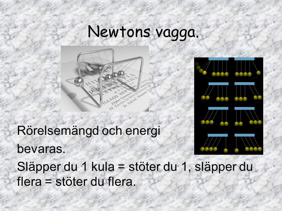 Newtons vagga. Rörelsemängd och energi bevaras. Släpper du 1 kula = stöter du 1, släpper du flera = stöter du flera.
