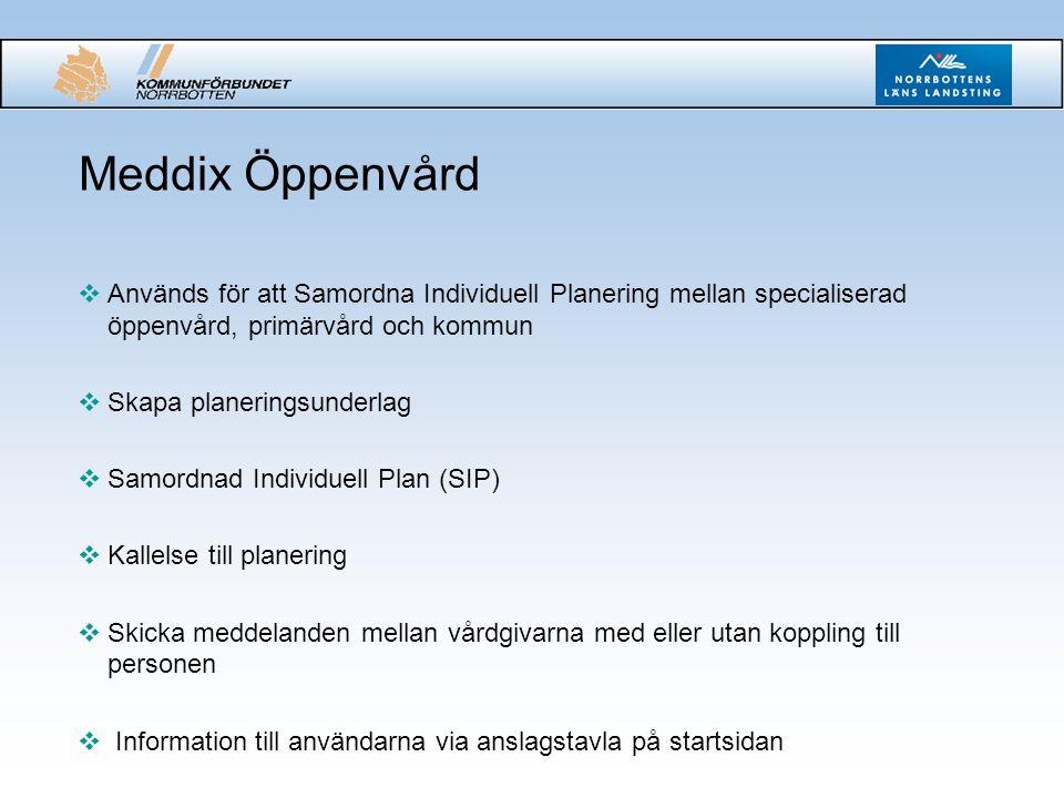 Meddix Öppenvård  Används för att Samordna Individuell Planering mellan specialiserad öppenvård, primärvård och kommun  Skapa planeringsunderlag  S