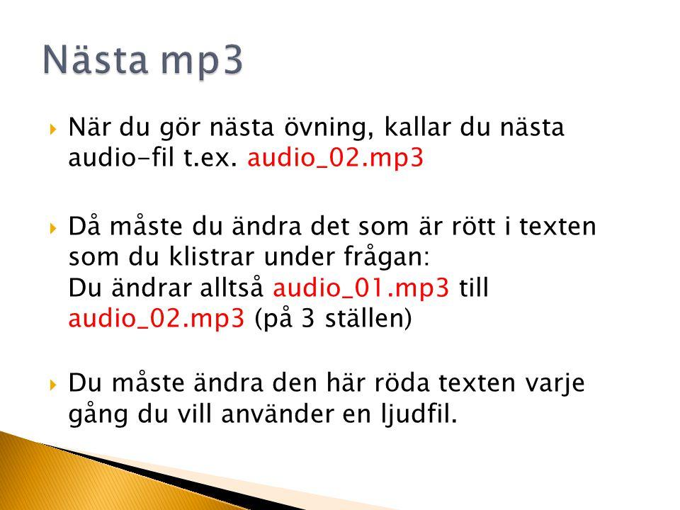 När du gör nästa övning, kallar du nästa audio-fil t.ex.