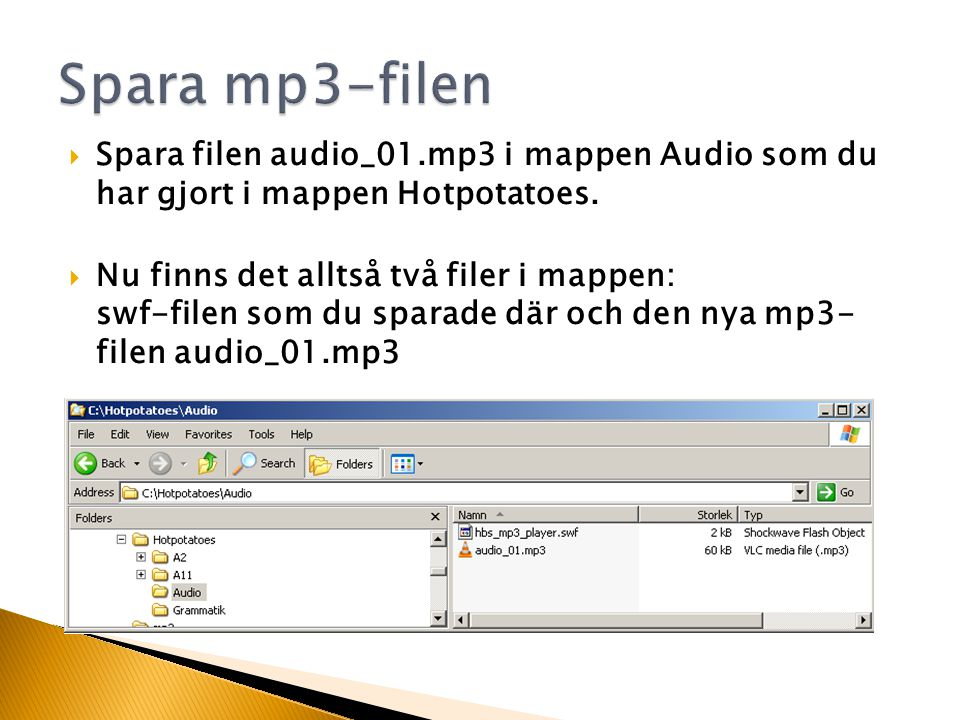  Spara filen audio_01.mp3 i mappen Audio som du har gjort i mappen Hotpotatoes.
