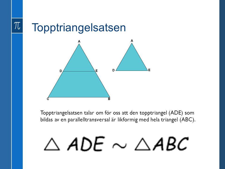 Topptriangelsatsen Topptriangelsatsen talar om för oss att den topptriangel (ADE) som bildas av en parallelltransversal är likformig med hela triangel