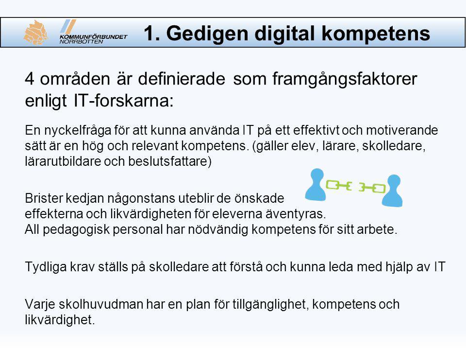 1. Gedigen digital kompetens 4 områden är definierade som framgångsfaktorer enligt IT-forskarna: En nyckelfråga för att kunna använda IT på ett effekt