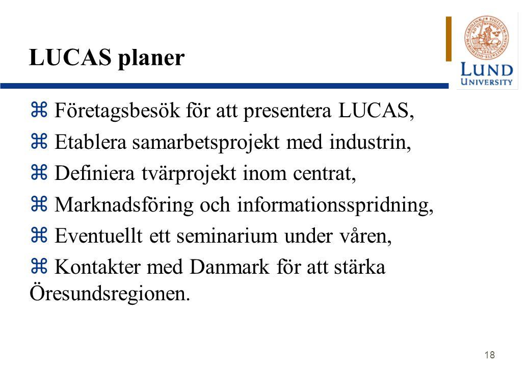 18 LUCAS planer z Företagsbesök för att presentera LUCAS, z Etablera samarbetsprojekt med industrin, z Definiera tvärprojekt inom centrat, z Marknadsföring och informationsspridning, z Eventuellt ett seminarium under våren, z Kontakter med Danmark för att stärka Öresundsregionen.