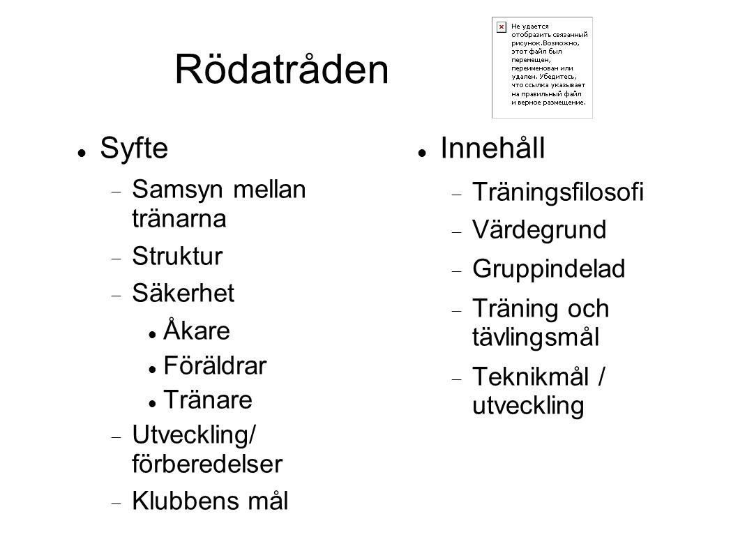 Rödatråden Syfte  Samsyn mellan tränarna  Struktur  Säkerhet Åkare Föräldrar Tränare  Utveckling/ förberedelser  Klubbens mål Innehåll  Tränings