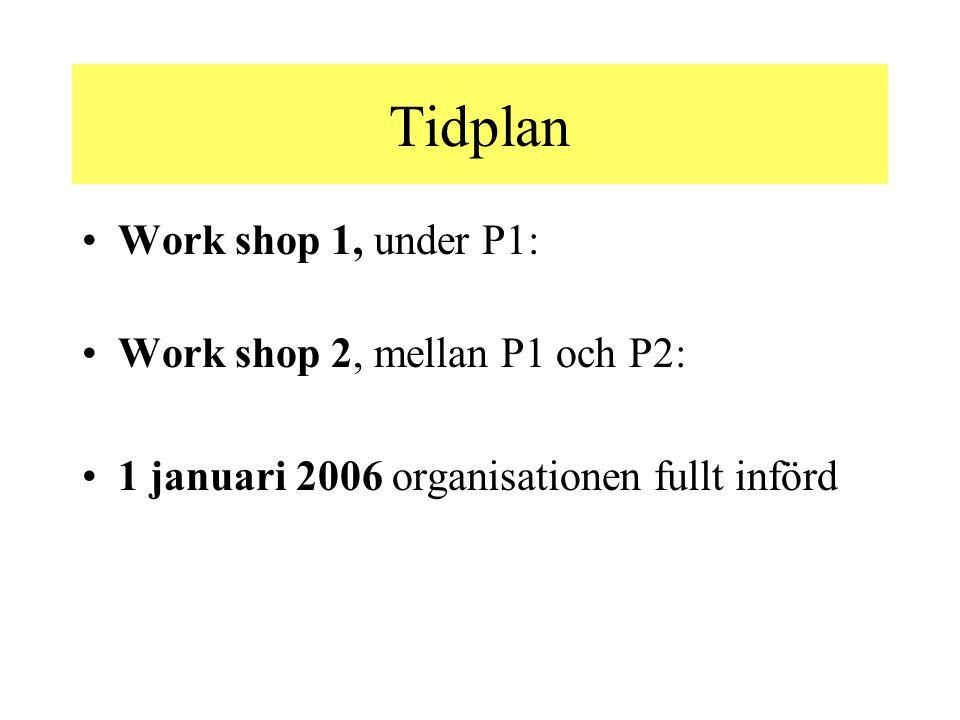Tidplan Work shop 1, under P1: Work shop 2, mellan P1 och P2: 1 januari 2006 organisationen fullt införd