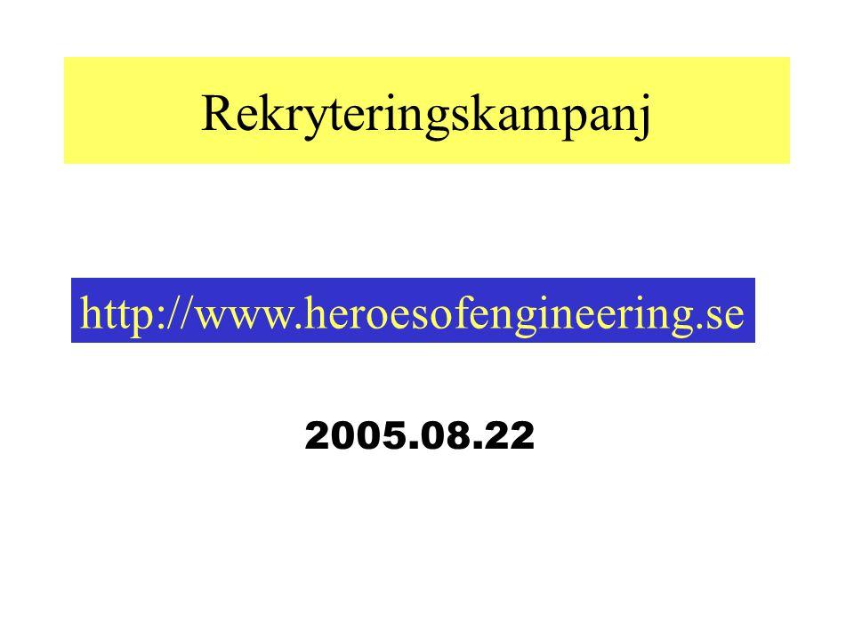 Rekryteringskampanj http://www.heroesofengineering.se 2005.08.22