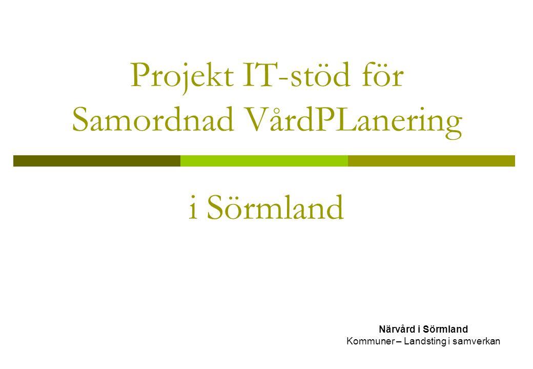 Projekt IT-stöd för Samordnad VårdPLanering i Sörmland Närvård i Sörmland Kommuner – Landsting i samverkan
