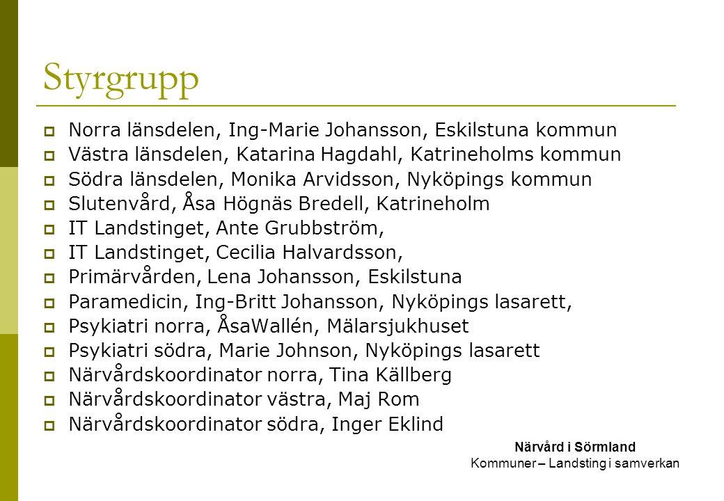 Delprojektgrupp, profil Närvård i Sörmland Kommuner – Landsting i samverkan  Känna till organisationen  Tänka helhet  Vara insatt i befintliga rutiner  Utse representanter till eventuell arbetsgrupp  Insatt, intresserad av svpl  Förmåga att engagera  Praktisk arbetar med vårdplaneringar